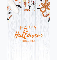 festive flyer with treats for halloween vector image