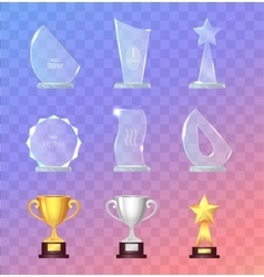 Glass and Metal Sport Trophies And Cups Set vector image vector image