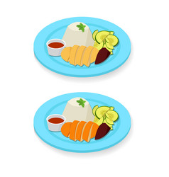 Hainanese chicken rice in flat style vector