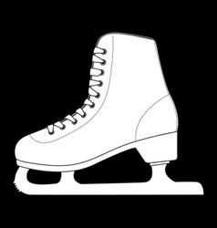 ice skate outline white icon on black background vector image
