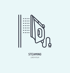iron steamer icon steaming service line flat sign vector image