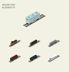 Isometric wagon set of train carbon railway vector