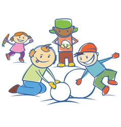 Kids making a snow man isolated vector