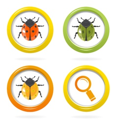 Ladybird glossy icon in colorful bubbles vector image