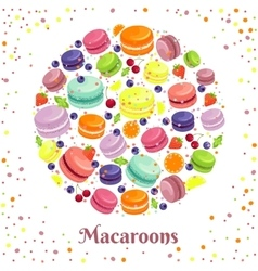 Macaroons cookies round label vector
