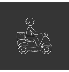 Man carrying goods on bike drawn in chalk icon vector