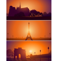 Paris skyline landscape set vector