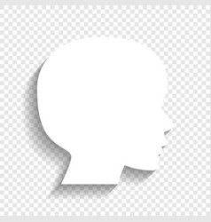 People head sign white icon with soft vector