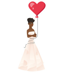 Serious bride with a heart-shaped red balloon vector