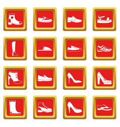 Shoe icons set red vector