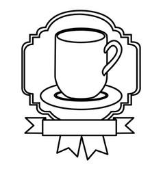 Silhouette border heraldic decorative ribbon with vector