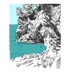 sketch drawing of nature rock at adriatic sea in vector image
