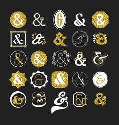 stylized white and golden ampersand sign and vector image vector image