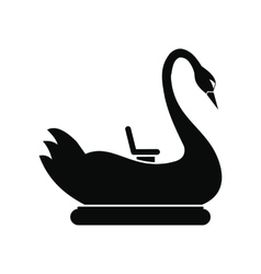 Swan children carousel black simple icon vector