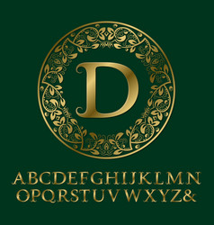 Tendrils gold letters with d initial monogram vector