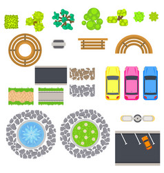 Top view landscape isolated objects vector
