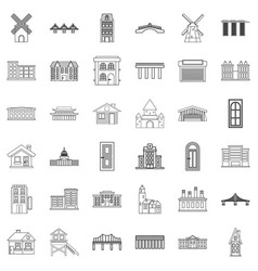Tower icons set outline style vector