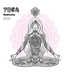 Vintage girl in a meditation pose vector image vector image