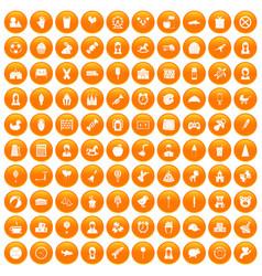 100 child center icons set orange vector