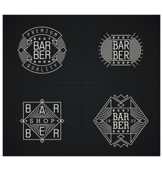 Bundle of four retro emblems for barber shop vector