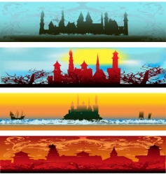 Fairytale castle web banners vector