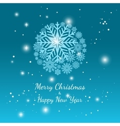 Blue winter snowflake background vector