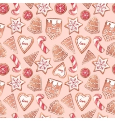 Nice ginger cookies pattern vector