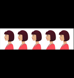 Female profile avatar expressions set woman vector