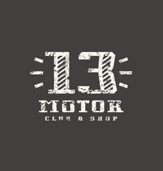 motor club badge with shabby texture vector image