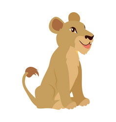 Lioness or lion cub cartoon icon in flat design vector