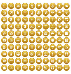 100 seaside resort icons set gold vector
