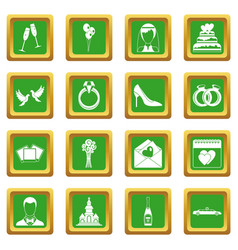 wedding icons set green vector image