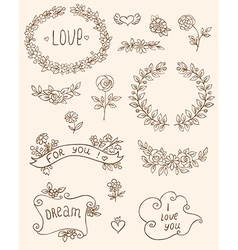 Romantic doodle elements vector
