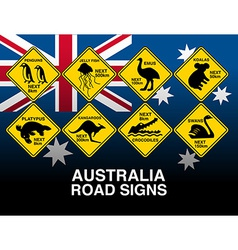 Australian yellow road warning signs with flag vector image