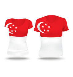 Flag shirt design of singapore vector