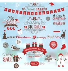 Christmas sale design set - labels emblems vector