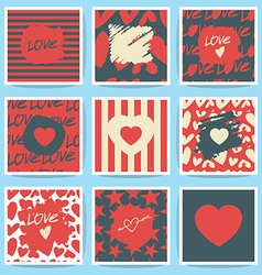 Happy valentines day and weeding cards set vector
