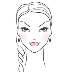 Womans front face vector