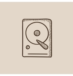 Hard disk sketch icon vector