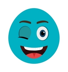 Blue cartoon face with winking eye graphic vector