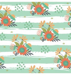 Floral pattern with stripes vector