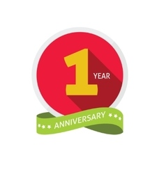 Anniversary 1st logo template with shadow on vector image