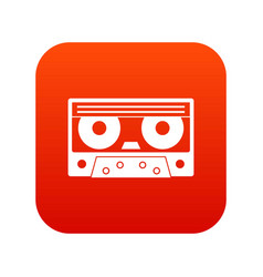 Audio cassette tape icon digital red vector