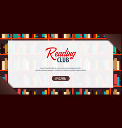 banner reading club book shelf or bookcase on the vector image
