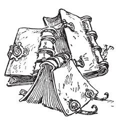 Book or handmade books vintage engraving vector