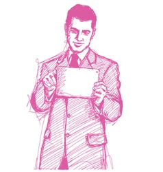 businessman touch pad vector image vector image