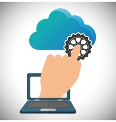 Cloud computing laptop web hosting design vector
