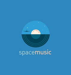 Creative logo music disc and the moon vector