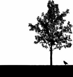 crow under tree vector image vector image
