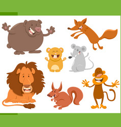 cute animal characters set vector image vector image